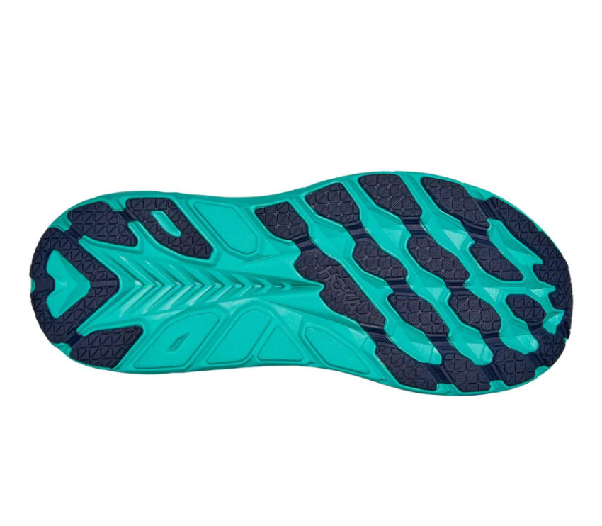 suola tomaia scarpa da running ammortizzata donna hoka clifton 8 blu e azzurra