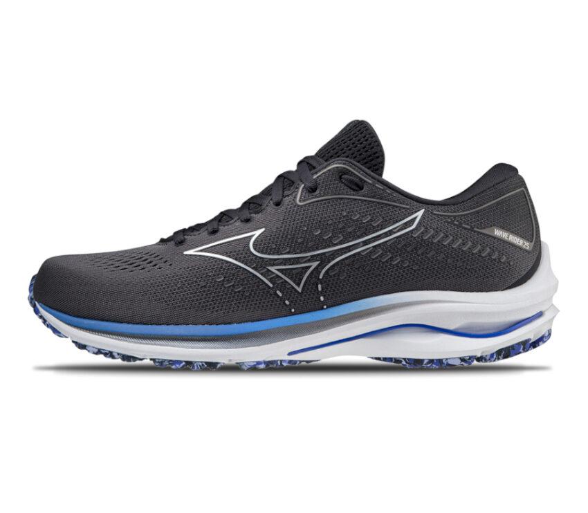 scarpa running uomo mizuno wave rider 25 grigio scuro e bianca