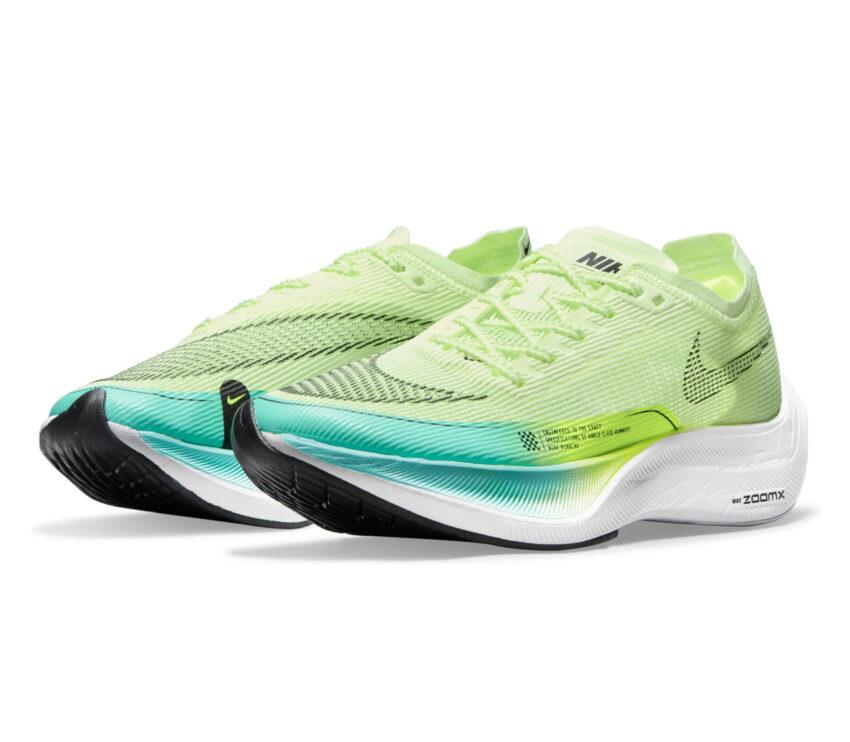 coppia di scarpe da running veloci da donna nike vaporfly next 2 fluo