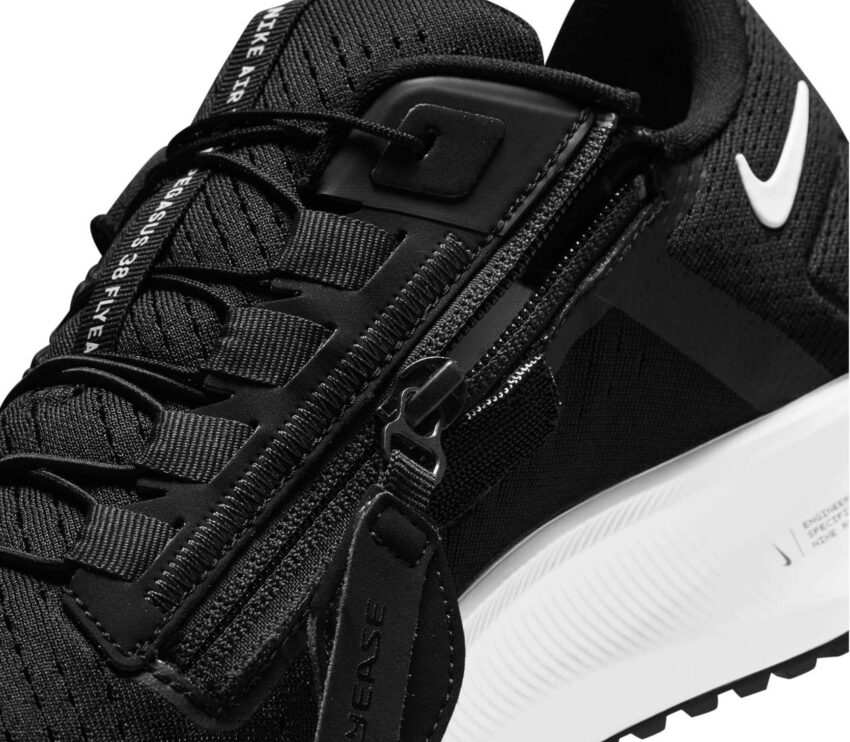 dettaglio zip scarpa da running nike pegasus 38 flyease nera