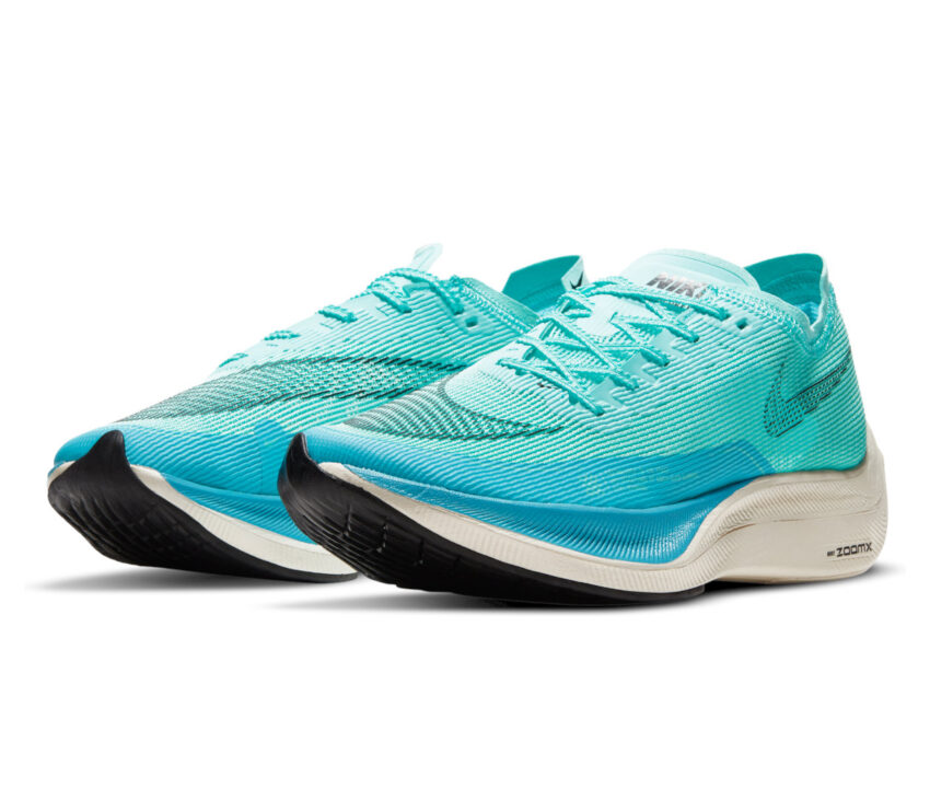 coppia scarpa da gara nike zoom x vaporfly 2 azzurra da uomo