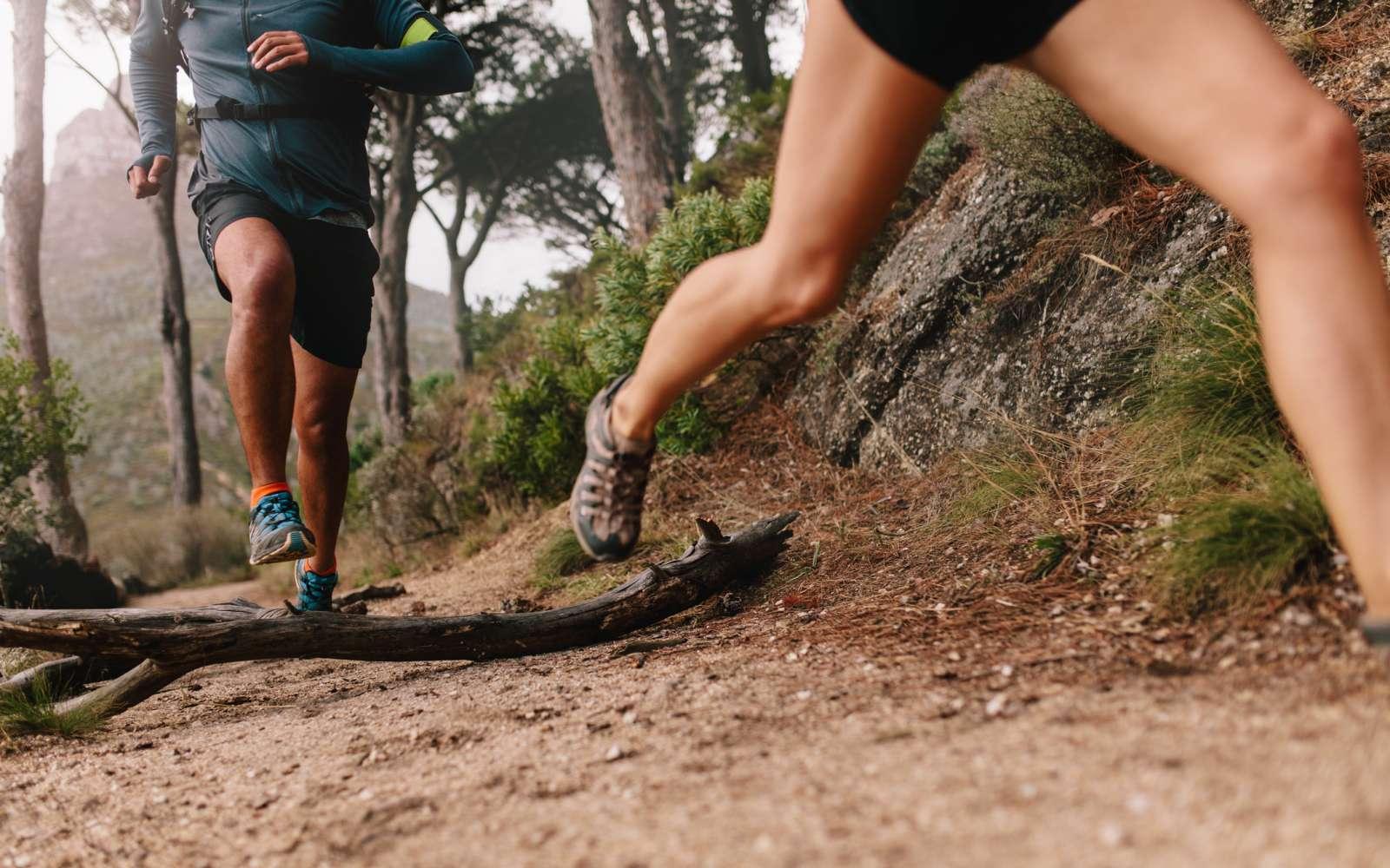 2 runner corrono nel bosco un trail con scarpe da trail running