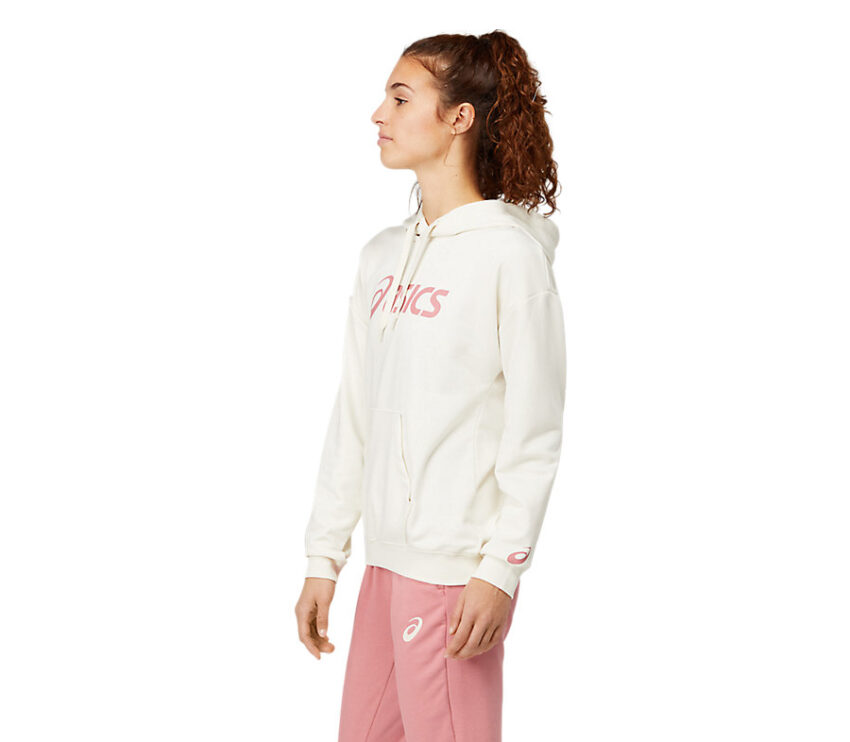 felpa Asics da donna bianca e rosa