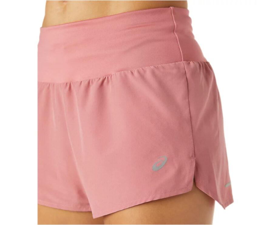 dettaglio pantaloncini da running donna asics rosa