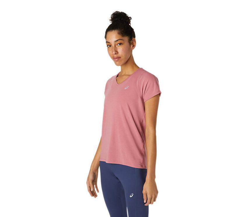 t-shirt da running donna Asics con scollo a V