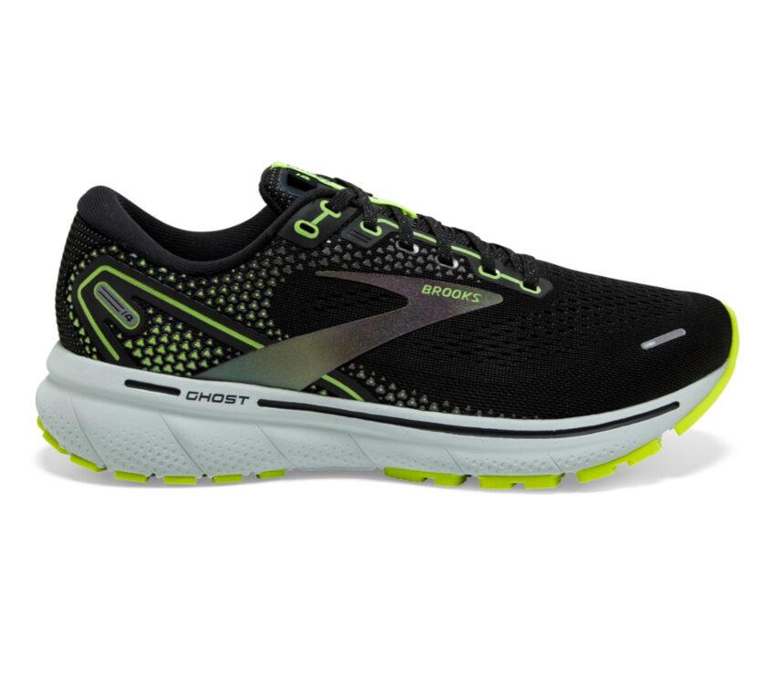 scarpa running neutra ammortizzata donna brooks ghost 14 nera e fluo