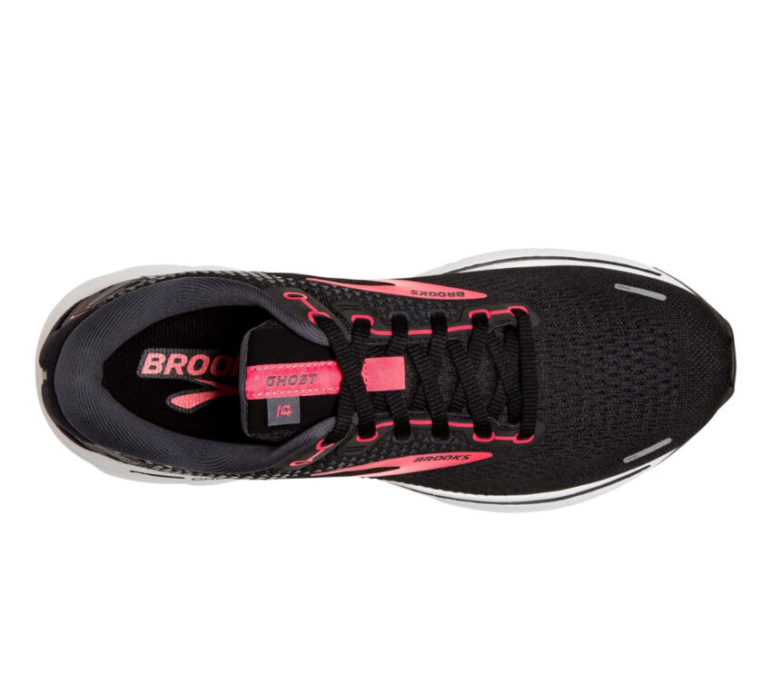 scarpa running neutra ammortizzata donna brooks ghost 14 nera e rosa