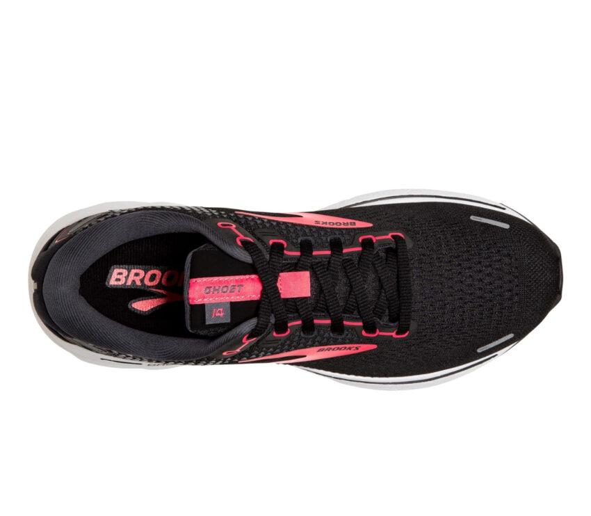 tomaia scarpa da running donna brooks ghost 14 narrow nera e rosa