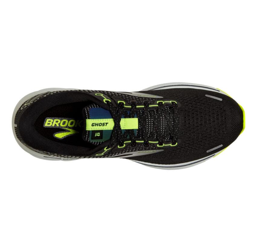 scarpa running neutra ammortizzata uomo brooks ghost 14 nera e fluo