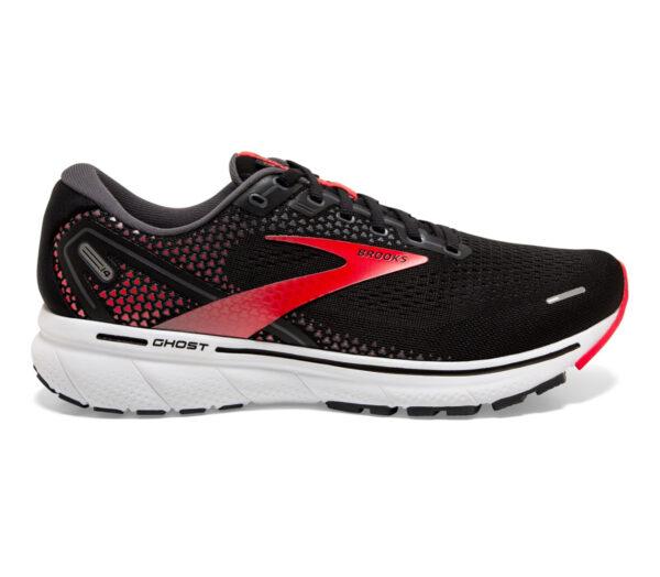 scarpa da running neutra uomo brooks ghost 14 nero e rossa