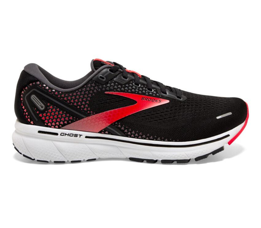 scarpa da running pianta larga uomo brooks ghost 14 rossa e nera