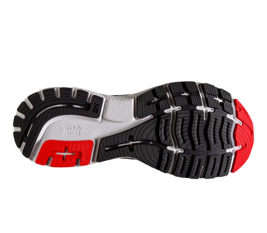 suola scarpa da running pianta larga uomo brooks ghost 14 rossa e nera