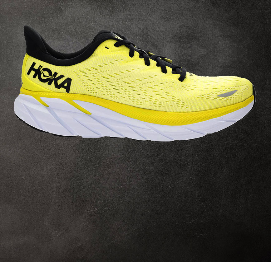 scarpa da running ammortizzata e veloce hoka clifton 8 gialla