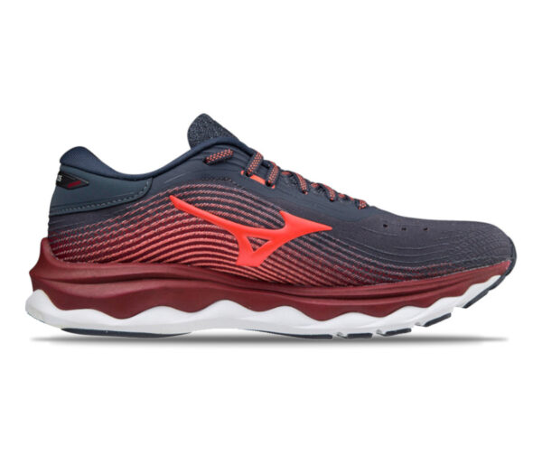 scarpa da running donna mizuno wave sky 5 rossa e blu