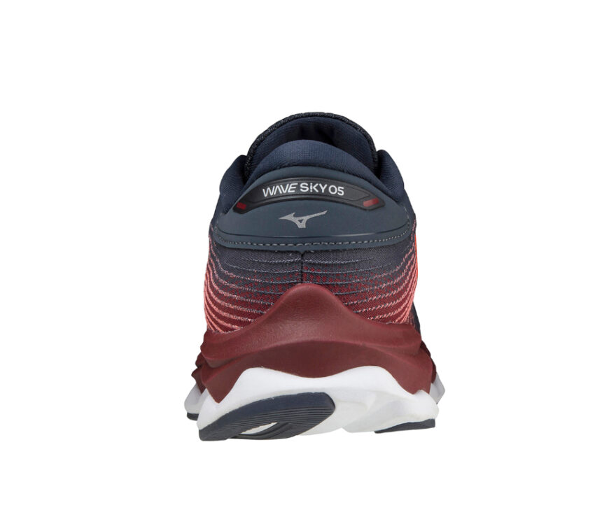 tallone scarpa da running donna mizuno wave sky 5 rossa e blu