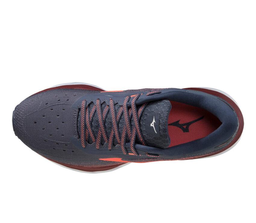 tomaia scarpa da running donna mizuno wave sky 5 rossa e blu