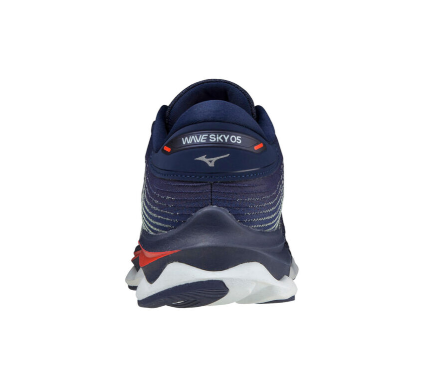 talone scarpa running reattiva mizuno sky 5 uomo blu e rossa