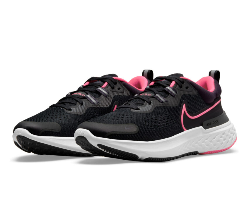 coppia scarpa da running nike react miler donna nera e rosa
