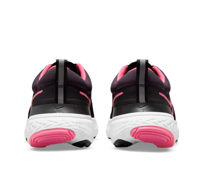 tallone scarpa da running nike react miler donna nera e rosa