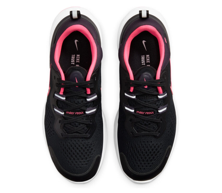 tomaia scarpa da running nike react miler donna nera e rosa