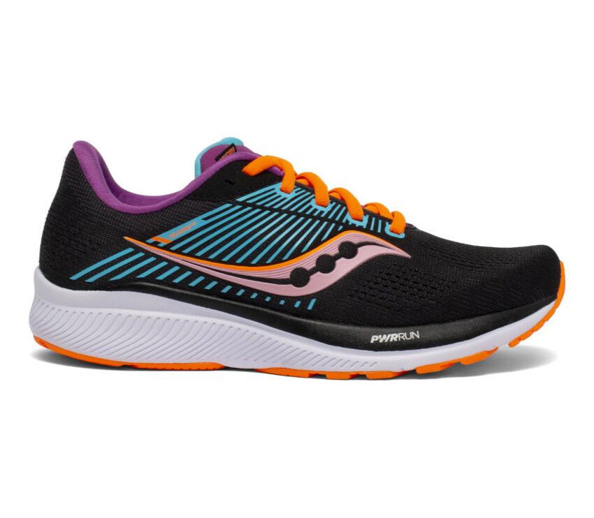 scarpa stabile per pronazione saucony guide 14 donna nera e arancio