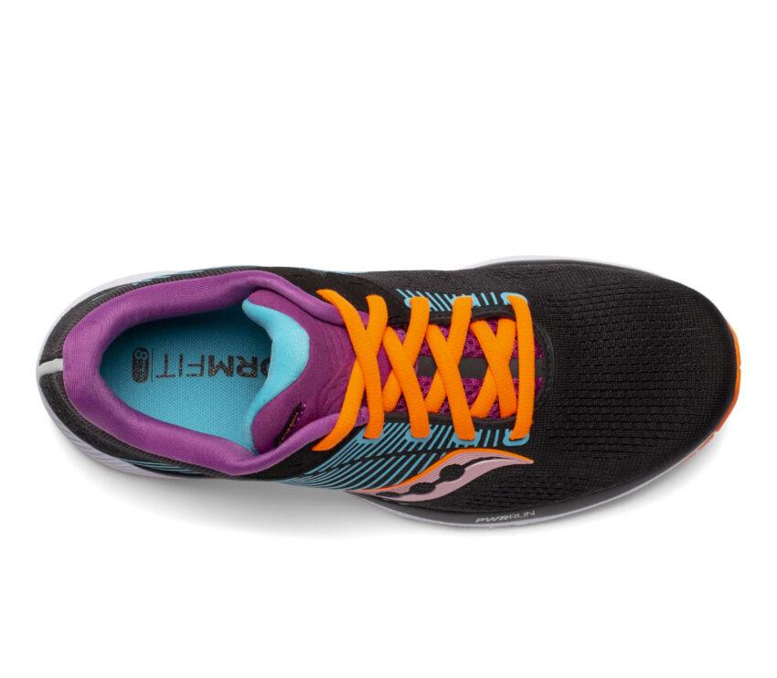 tomaia scarpa stabile per pronazione saucony guide 14 donna nera e arancio