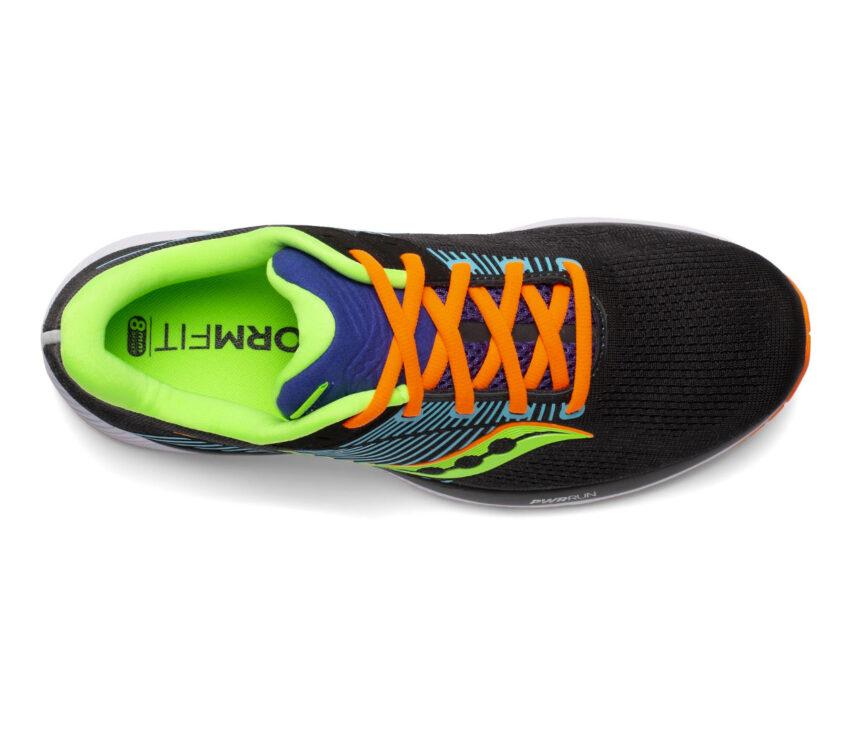 tomaia scarpa da running stabile per pronatori saucony guide 14 nera e arancio