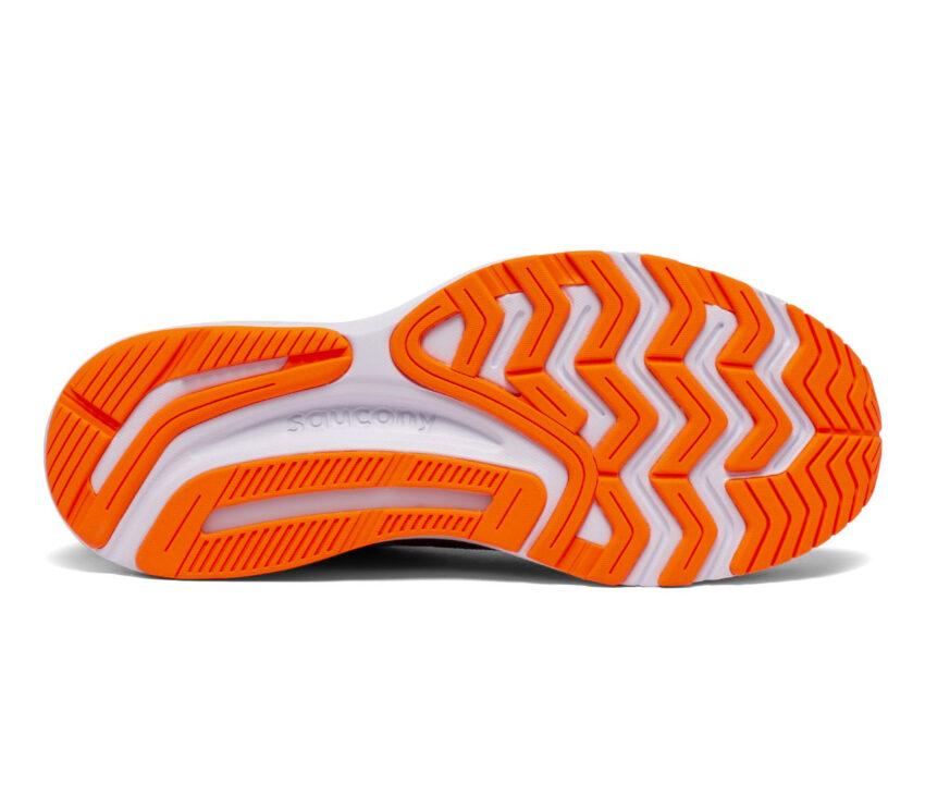 suola scarpa da running stabile per pronatori saucony guide 14 nera e arancio