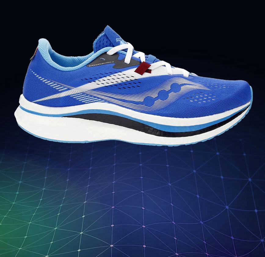 saucony endorphin pro 2 blu, scarpa da running in fibra di carbonio veloce