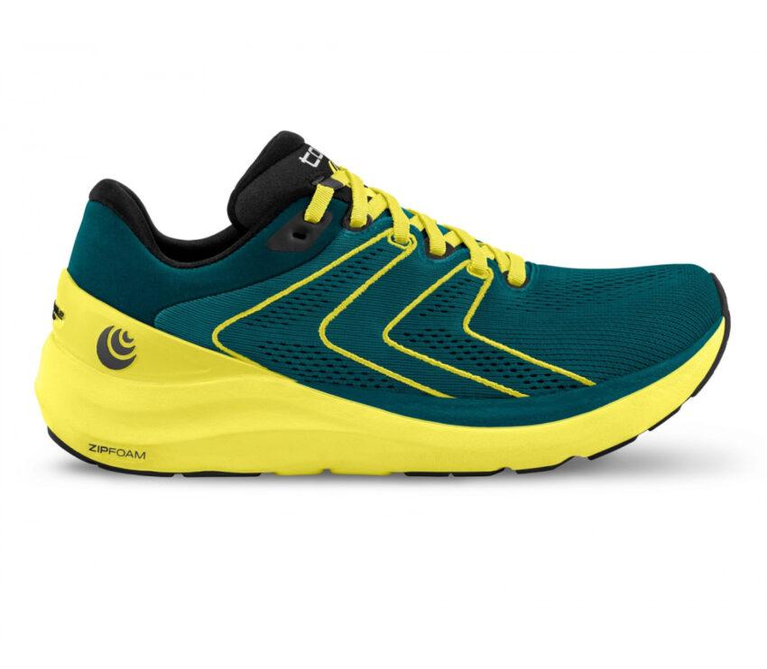 scarpa da running uommo ammortizzata topo phantom 2 blu e gialla
