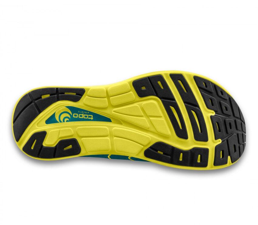 suola scarpa da running uommo ammortizzata topo phantom 2 blu e gialla