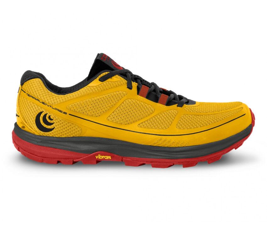 scarpa da trail running uomo topo terraventure 2 gialla e rossa