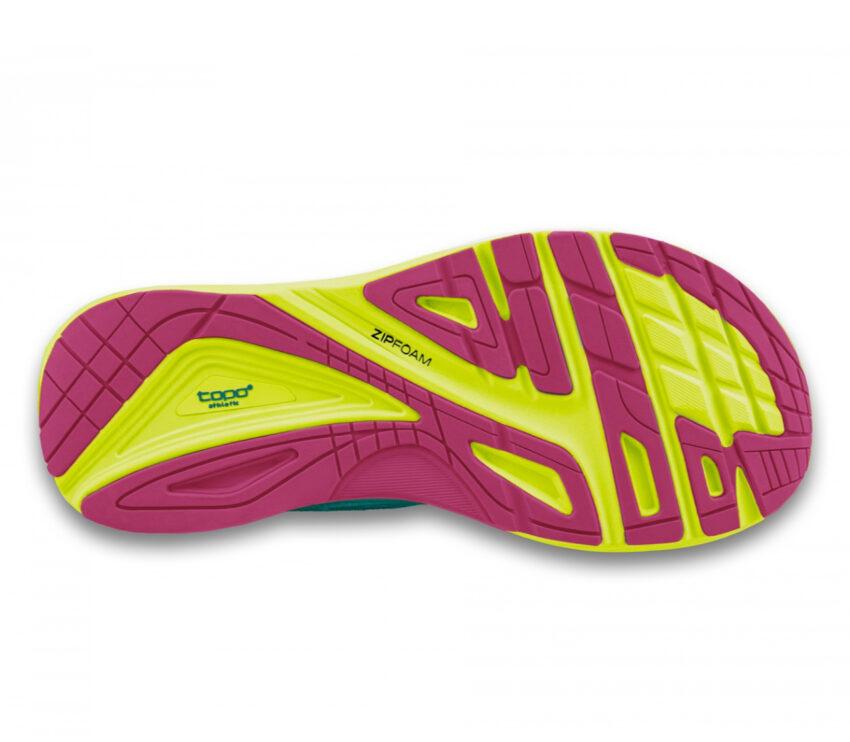 suola scarpa da running donna topo ultrafly 3 verde acqua
