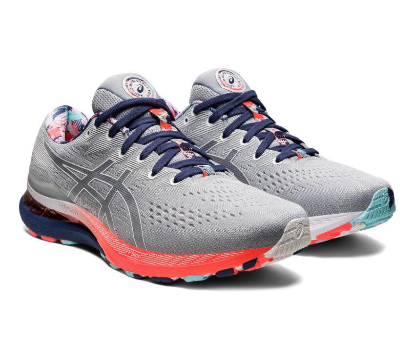 coppia scarpa running pronatori asics kayano 28 uomo grigio e rosa