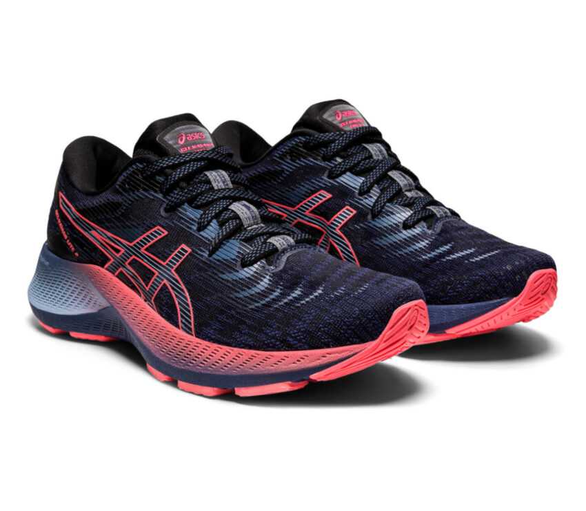 coppia scarpa da running donna stabile e leggera asiks kayano lite 2 blu e rosa