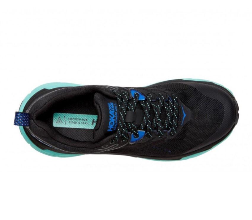 tomaia scarpa trail running donna hoka challenger 6 atr goretex nera e azzurra