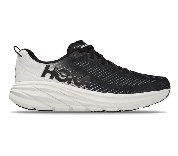 scarpa da running veloce uomo hoka rincon 3 nera e bianca
