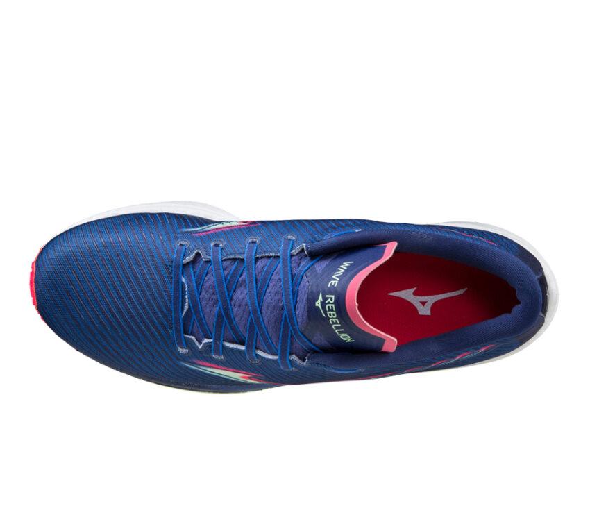 tomaia scarpa running reattiva mizuno wave rebellion blu
