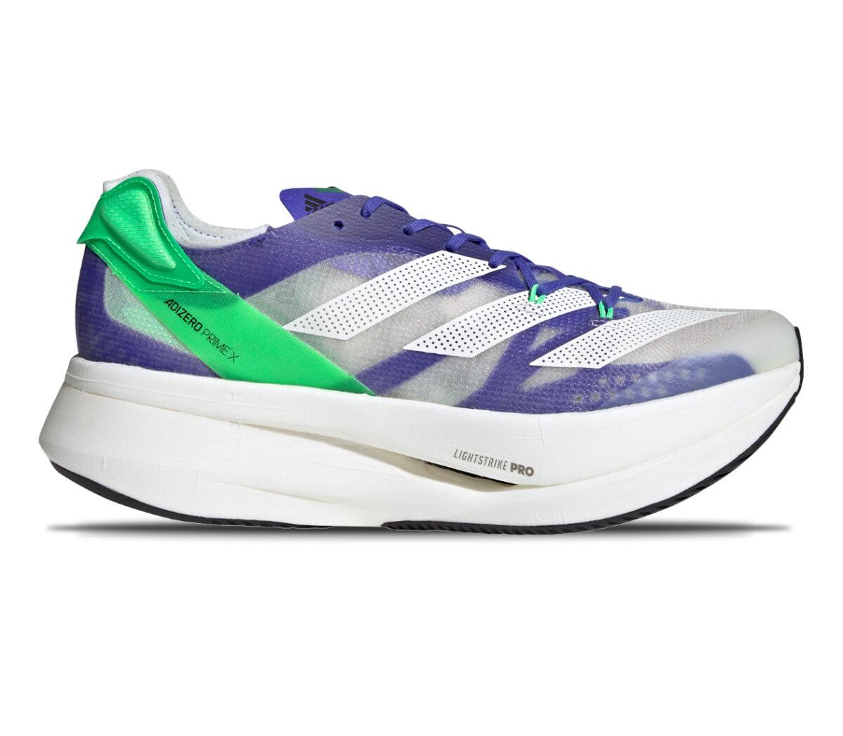 scarpa running reattiva adizero prime x viola e grigia