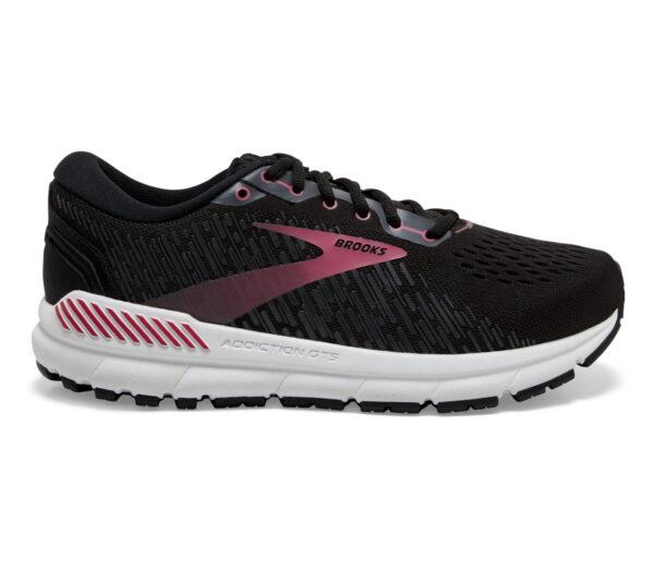 scarpa da running donna a pianta larga pronatrici brooks addicion 15 nera e rosa
