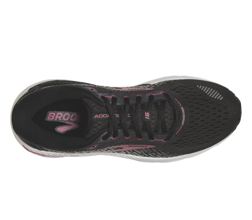 tomaia scarpa da running donna a pianta larga pronatrici brooks addicion 15 nera e rosa