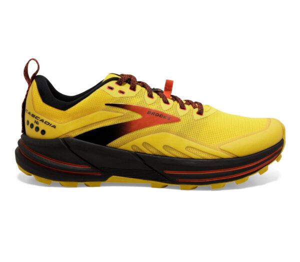 scarpa da trail running reattiva brooks cascadia 16 uomo giallo rossa
