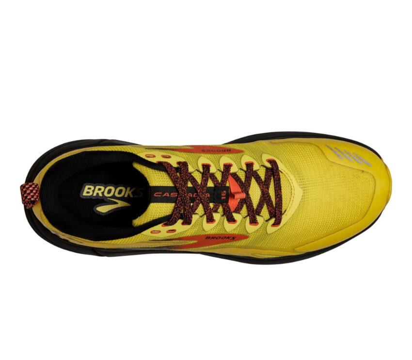 tomaia scarpa da trail running reattiva brooks cascadia 16 uomo giallo rossa