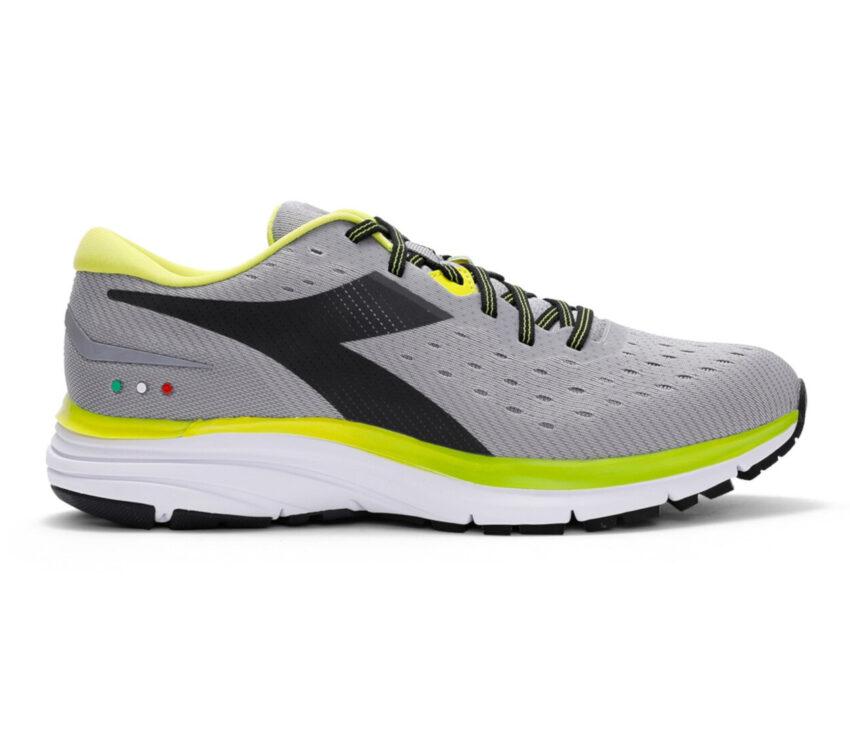 scarpa da running neutra diadora mythos blushield 6 grigia e fluo