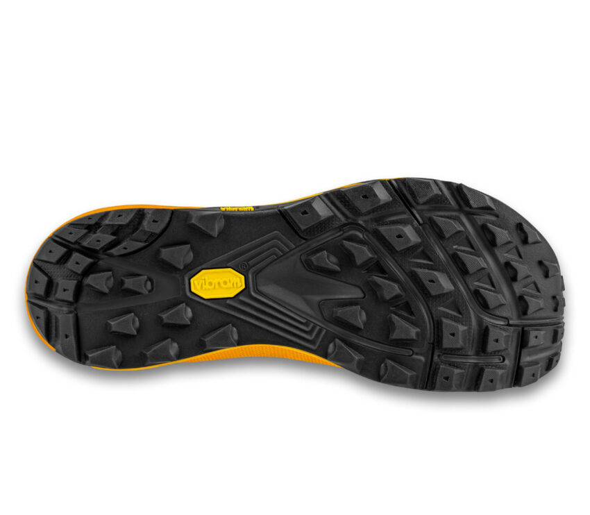 suola scarpa trail running topo mtn racing 2 arancione